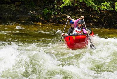 Canoe Photograph - Powerful Paddling by Les Palenik