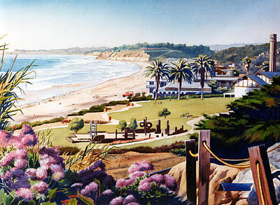 Lilac Painting - Powerhouse Beach Del Mar Lilac by Mary Helmreich