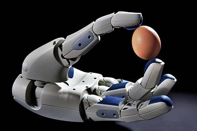 Pr2 Robot Hand Holding An Egg Art Print by Patrick Landmann
