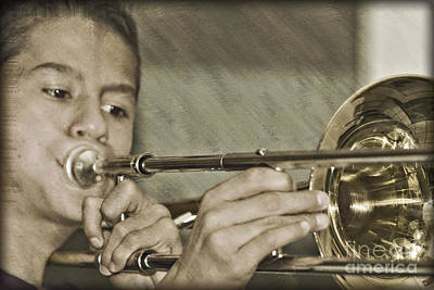 Photograph - Practicing The Trombone  by Walter Herrit