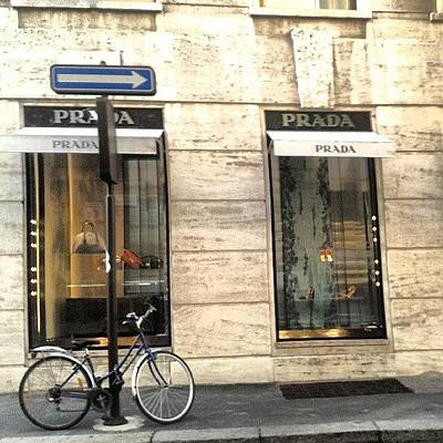 Cycling Wall Art - Photograph - #prada #store In #milan #viasantandrea by Andrea Zampedroni