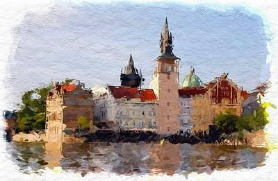Water Reflections Mixed Media - Prag  by Steve K
