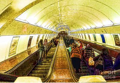 Prague Drawings Photograph - Prague - Metro by Justyna JBJart