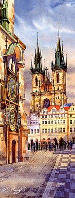 Prague Afternoon Astronomic Clock And Church Art Print by Dmitry Koptevskiy