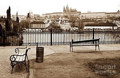 Prague Benches Art Print by John Rizzuto