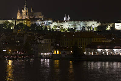 Halifax Town Clock Photograph - Prague By Night by Chris Smith
