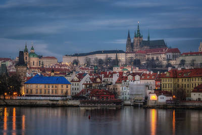 Fantasy Royalty-Free and Rights-Managed Images - Prague Castle Dawn by Joan Carroll