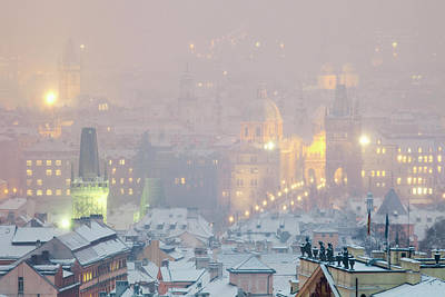 Prague Photograph - Prague - Charles Bridge And Spires by Panoramic Images