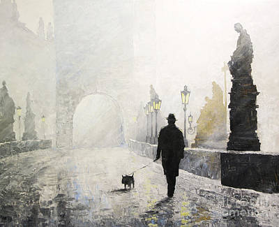 Charles Bridge Painting - Prague Charles Bridge Morning Walk 01 by Yuriy Shevchuk