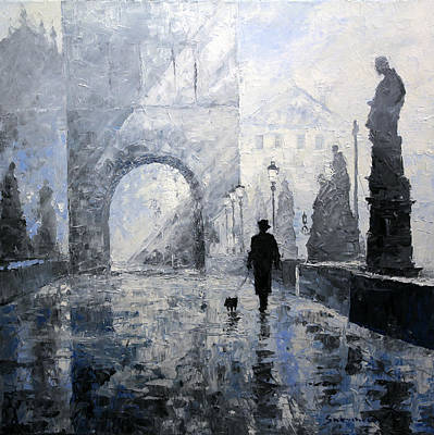 Figurative Painting - Prague Charles Bridge Morning Walk by Yuriy Shevchuk