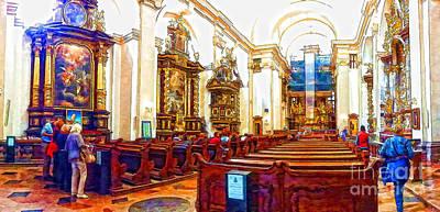 Prague Drawings Photograph - Prague Church Panorame by Justyna JBJart
