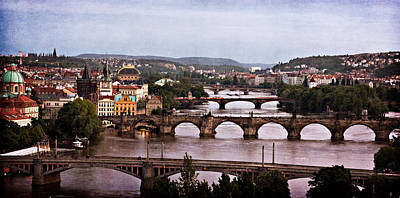 Photograph - Prague Cityscape - Texture by Barry O Carroll