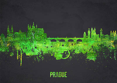 Vltava River Digital Art - Prague Czech Republic by Aged Pixel