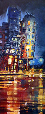 Reflecting Painting - Prague Dancing House  by Yuriy Shevchuk