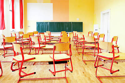 Empty Chairs Photograph - Prague - Empty Classroom At State by Panoramic Images