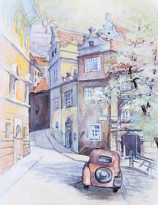 Prague Golden Well Lane Art Print by Marina Gnetetsky