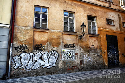 Prague Graffiti Scene Art Print by John Rizzuto