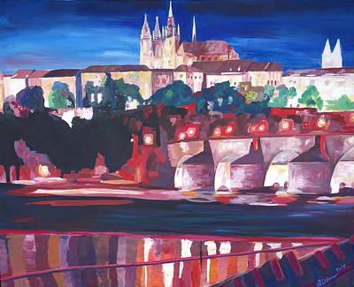 Prague - Hradschin With Charles Bridge Art Print by M Bleichner