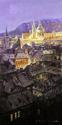Lesser Painting - Prague Mala Strana  Night Light  by Yuriy Shevchuk