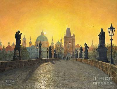 Cobblestone Painting - Prague by MGL Meiklejohn Graphics Licensing