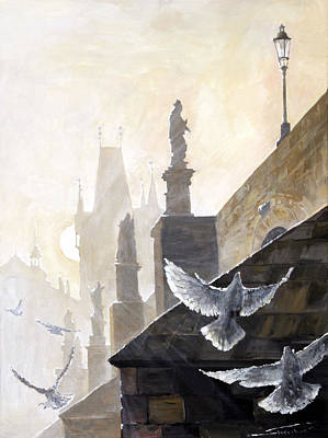 Doves Painting - Prague Morning On The Charles Bridge  by Yuriy Shevchuk