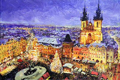 Prague Old Town Square Christmas Market Print by Yuriy Shevchuk