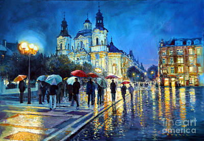 Old Town Painting - Prague Old Town Square  View Of Street Parizska And St.nicolas Church by Yuriy Shevchuk