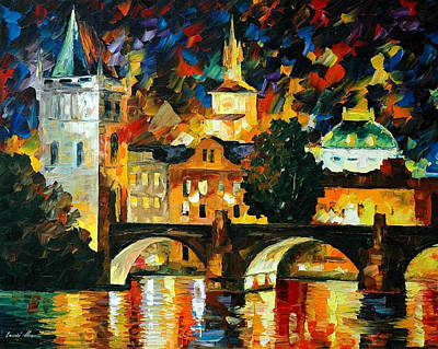 Prague - Palette Knife Oil Painting On Canvas By Leonid Afremov Original by Leonid Afremov