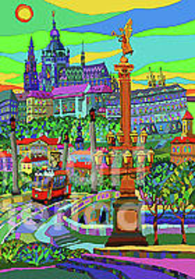Architecture Mixed Media - Prague Panorama With Manesuv Bridge by Yuriy Shevchuk