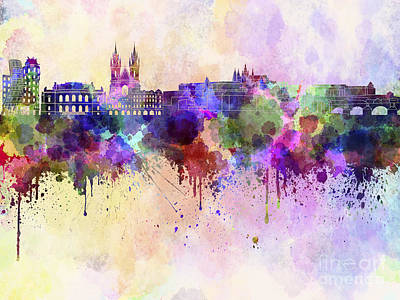 Prague Skyline In Watercolor Background Print by Pablo Romero