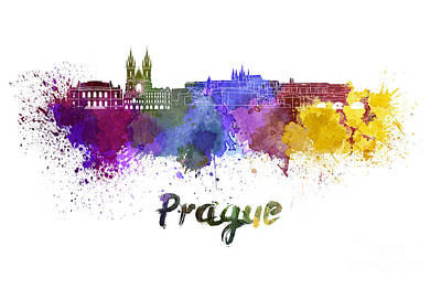Czech Republic Painting - Prague Skyline In Watercolor by Pablo Romero
