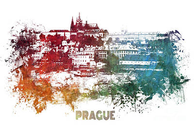 Prague Digital Art Digital Art - Prague Skyline by Justyna JBJart