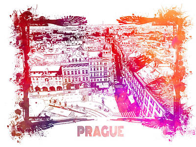Prague Digital Art Digital Art - Prague Skyline Panorame by Justyna JBJart