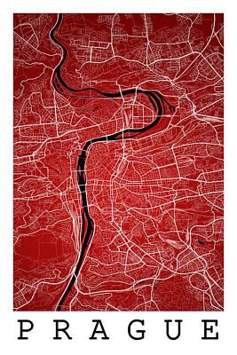 Czech Digital Art - Prague Street Map - Prague Czech Republic Road Map Art On Colore by Jurq Studio