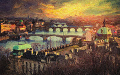 Charles Bridge Painting - Prague by Taylan Apukovska