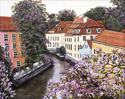 Water Wheel Painting - Prague View From The Bridge By Alison Tave by Sheldon Kralstein