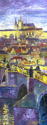 Prague Violet Panorama Night Light Charles Bridge Art Print by Yuriy Shevchuk