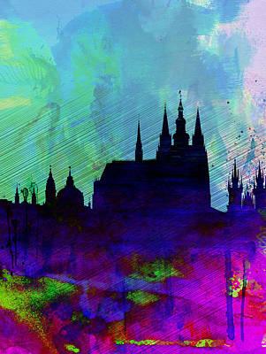 Panoramic Digital Art - Prague Watercolor Skyline by Naxart Studio