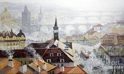 Tram Painting - Praha Early Spring  by Yuriy Shevchuk