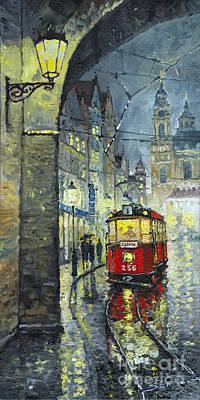 Tram Painting - Praha Red Tram Mostecka Str  by Yuriy  Shevchuk