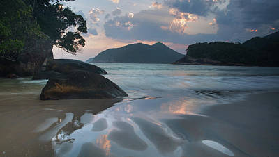 Praia Do Camburi At Sunset In Ubatuba Art Print