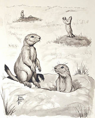 Painting - Prairie Dog Town by Art By - Ti   Tolpo Bader