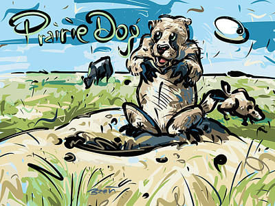 Burrowing Drawing - Prairie Dogs by Brett LaGue