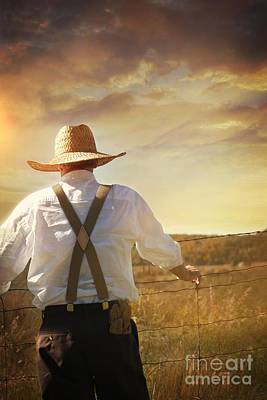 Photograph - Prairie Farmer Looking Out Over His Land by Sandra Cunningham