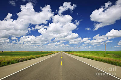 Field. Cloud Photograph - Prairie Highway by Elena Elisseeva