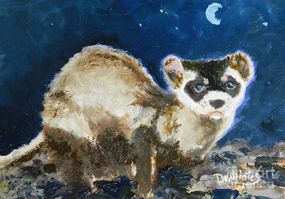 Black-footed Ferret Painting - Prairie Night by Alicia Drakiotes