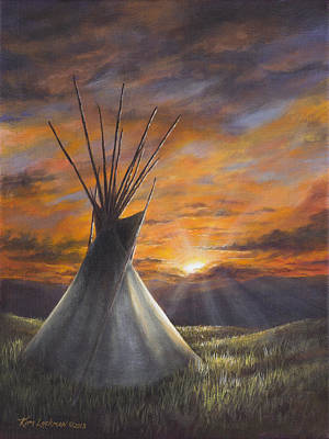 Art Print featuring the painting Prairie Sunset by Kim Lockman