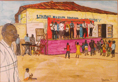 Painting - Praisin The Lord In Kenya by Larry Farris