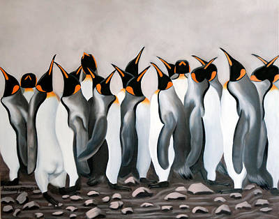 Painting - Praising Penguins by Anthony Falbo