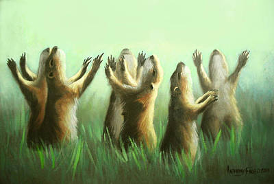 Praising Prairie Dogs Art Print by Anthony Falbo